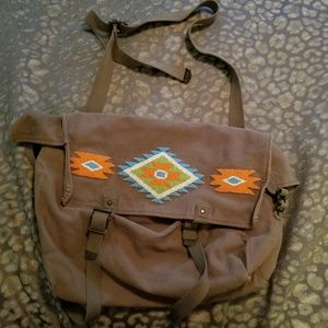 Ralph Lauren Olive Green Beaded Messenger Bag/Tote